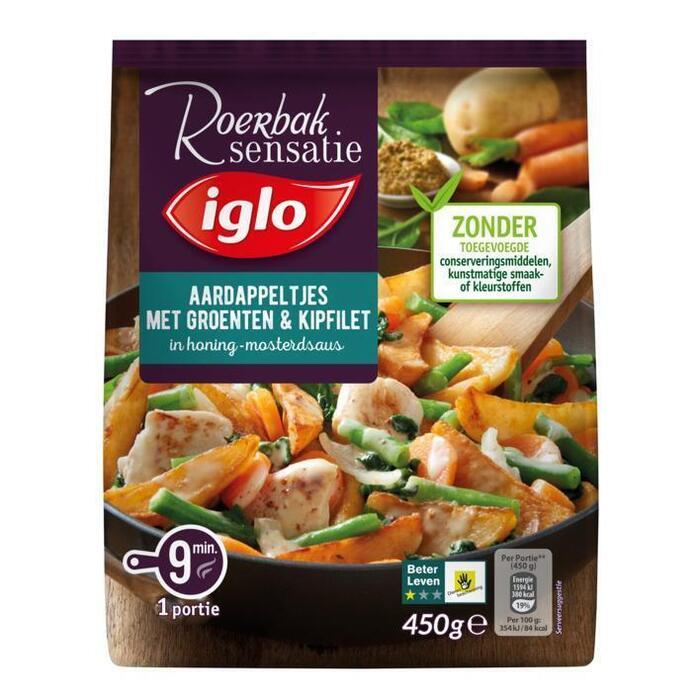 Aardappeltjes met kipfilet & spinazie in honing-mosterdsaus (450g)
