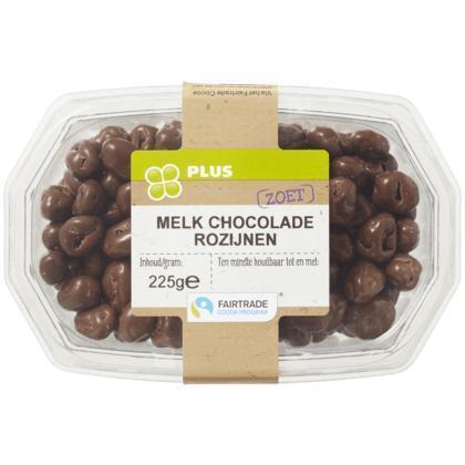 Chocolade rozijnen melk Fairtrade (225g)
