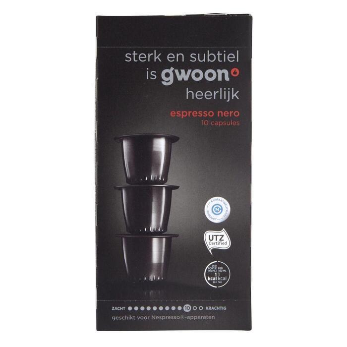g'woon Espresso nero capsules sterkte 10 (10 × 5g)