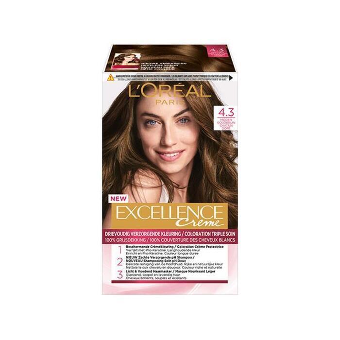 L'Oréal Excellence crème 4.3 midden goudbruin (176ml)