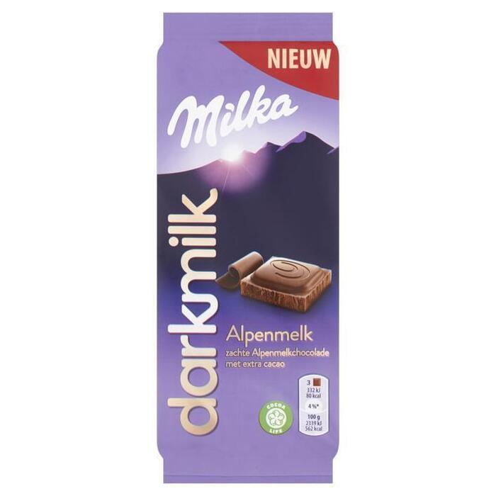 Milka Darkmilk chocoladereep alpenmelk (85g)
