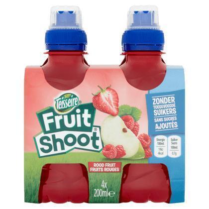 Teisseire Fruit Shoot Rood Fruit 4 x 200 ml (Stuk, 4 × 200ml)