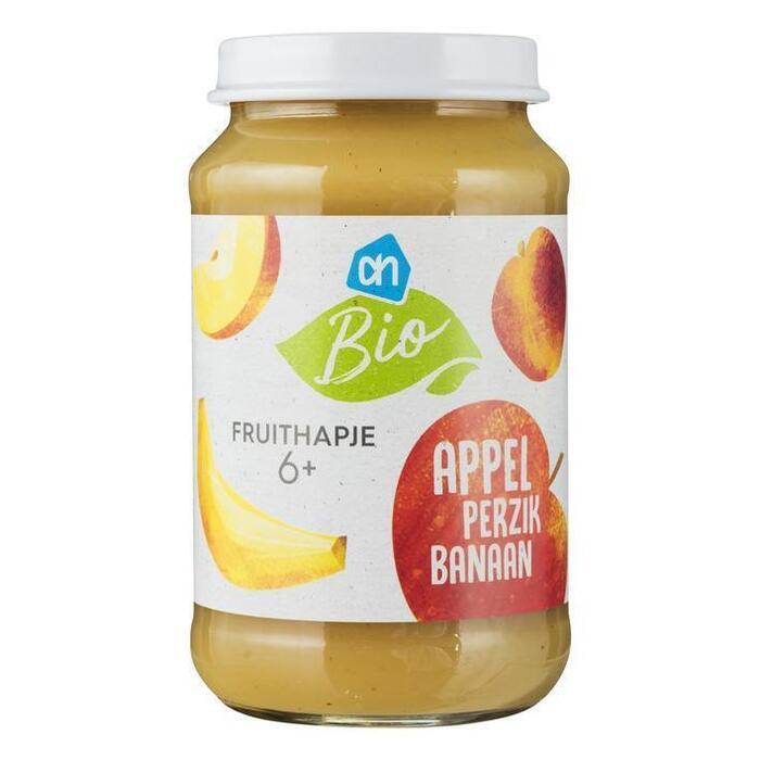 AH Biologisch Fruithapje appel-perzik-banaan 6m (200g)