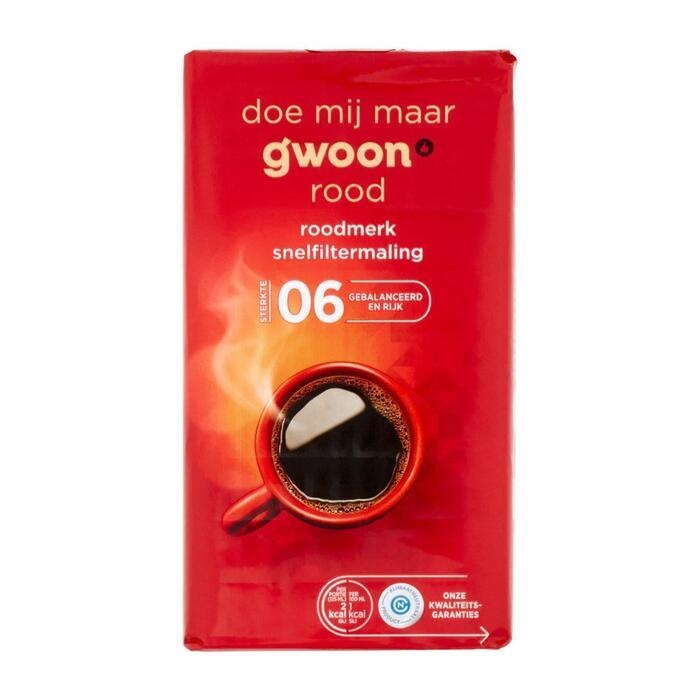 g'woon Roodmerk koffie snelfiltermaling (250g)