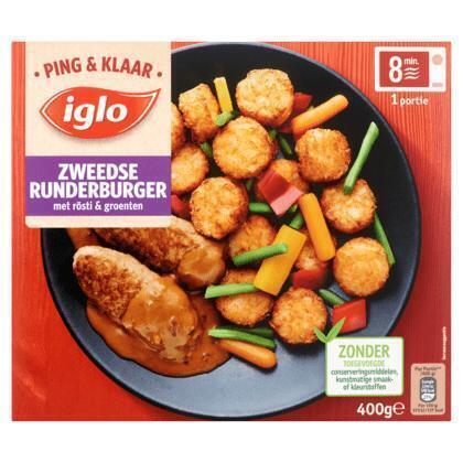 Iglo Ping & klaar runderburger (400g)