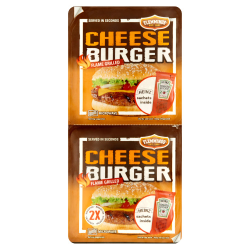 Flemmings 2 Cheeseburger Flame Grilled 261 g (Stuk, 2 × 261g)