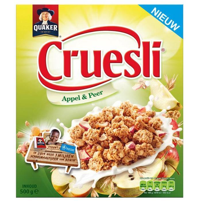 Quaker Cruesli appel-peer (doos, 500g)