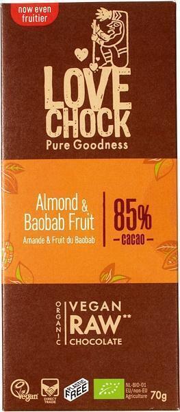 Chocotablet almond & baobab 85% (reep, 70g)
