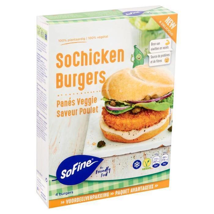 SoFine SoChicken Burgers Voordeelverpakking 4 x 80 g (4 × 80g)