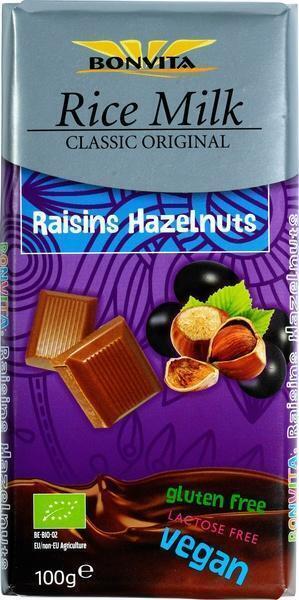 Rice Milk Chocolate Couverture Raisin and Hazelnuts (wikkel, 100g)