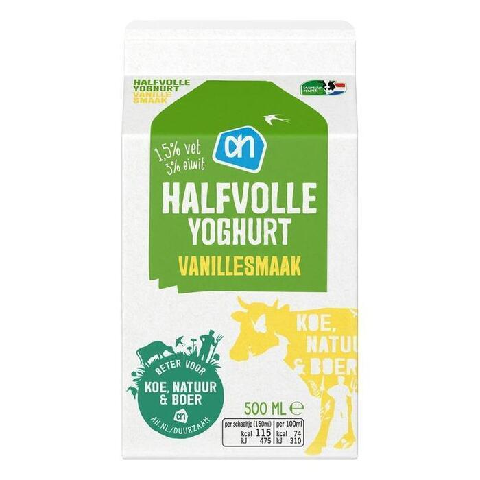 Vanille yoghurt (halfvol) (0.5L)