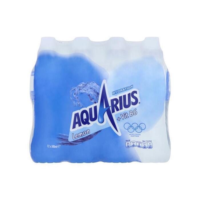 Aquarius Lemon met sportdop (fles, 12 × 0.5L)