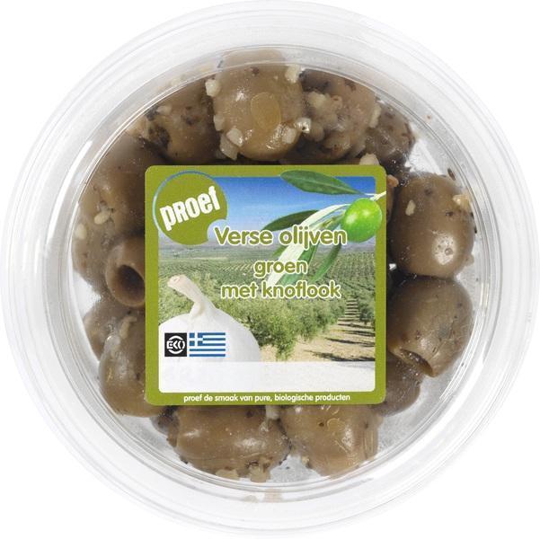Groene olijven met knoflook (120g)