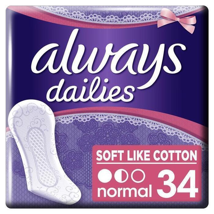 Always Dailies Soft Like Cotton Normal Inlegkruisjes 34 Stuks