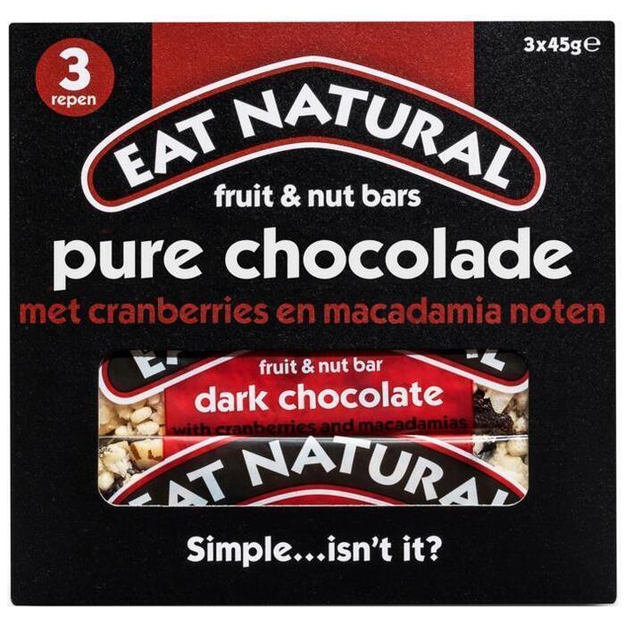 Eat Natural, Fruit en Noot Repen Pure Chocolade (Stuk, 3 × 45g)