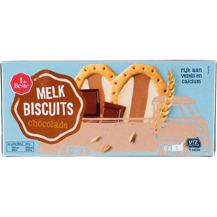 Melkbiscuits choco 6 x 2 stuks (doos, 6 × 40.8g)