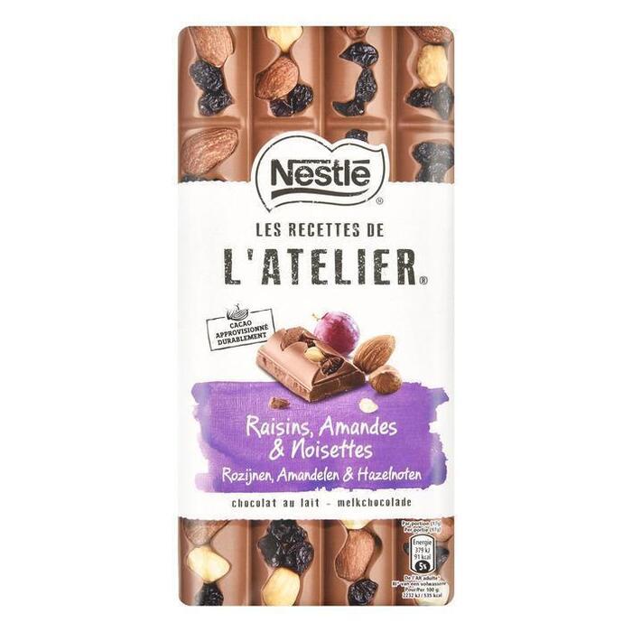 NESTLE LES RECETTES DE L'ATELIER Chocolade Melk Rozijn Hazelnoot Amandel 170 Gram Wikkel (170g)