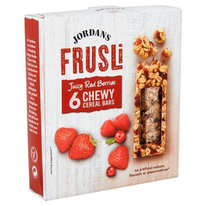 Jordans Frusli Juicy Red Berries Chewy Cereal Bars 6 x 30g (6 × 30g)