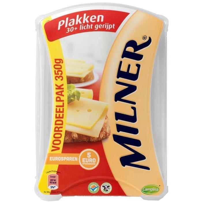 Milner kaasplakken 30+ licht gerijpt family pack 350 g bakje (350g)
