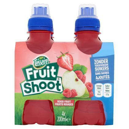 Teisseire Fruit Shoot Rood Fruit 4 x 200 ml (Stuk, 4 × 0.8L)