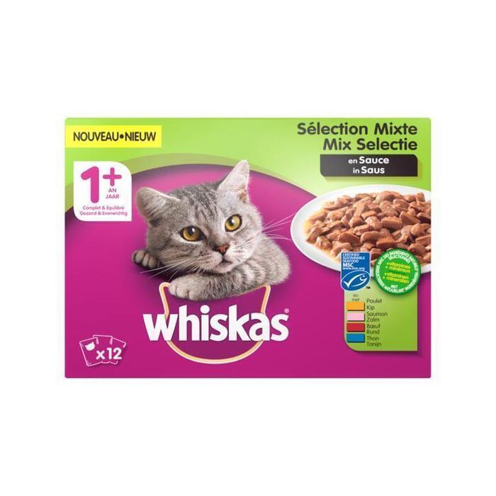 Whiskas Vlees en Vis Selectie in Saus 1 + Jaar 12 x 100 g (Stuk, 12 × 100g)