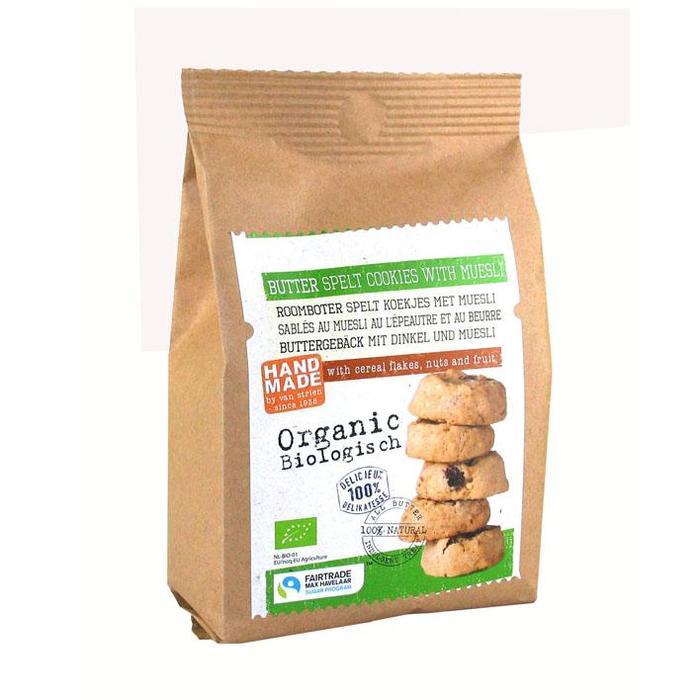 Roomboter spelt koekjes met muesli (zak, 140g)