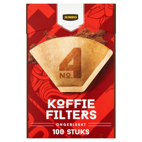 Jumbo Koffiefilters No. 4 Ongebleekt 100 Stuks