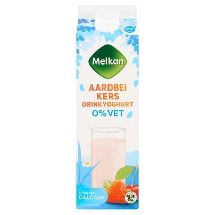 Drinkyoghurt 0% vet aardbei-kers (1L)