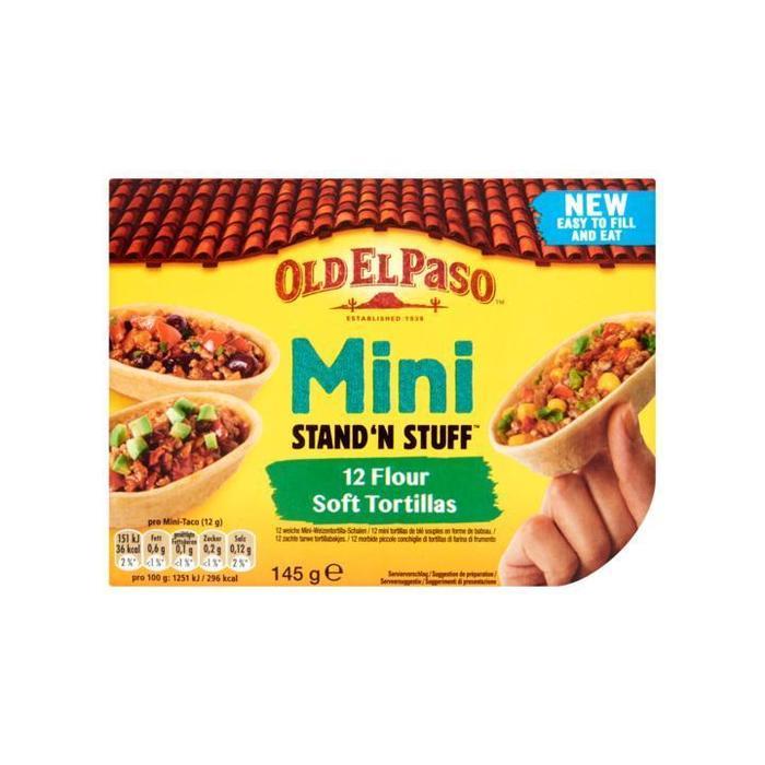Old El Paso Mini Stand'n Stuff Zachte Tarwe Tortillabakjes 12 Stuks 145g (12 × 145g)