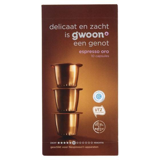 g'woon Capsules espresso oro sterkte 6 (10 × 5g)