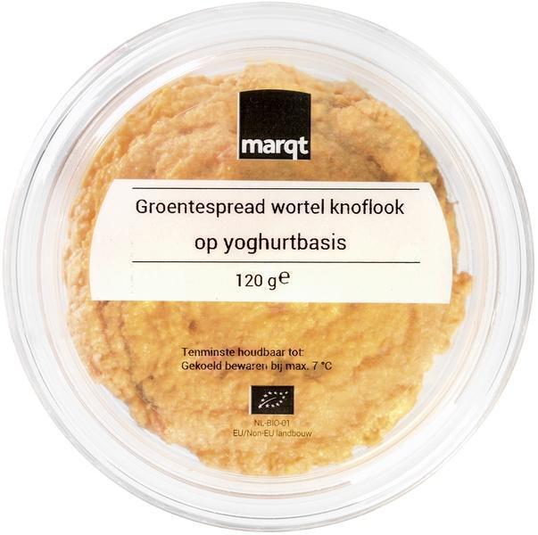 Groentespread wortel-knoflook op yoghurtbasis (120g)