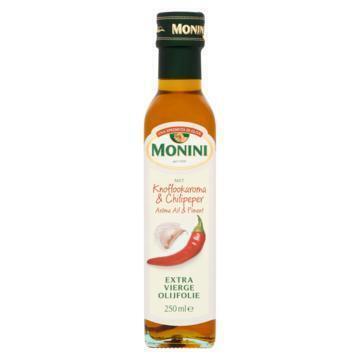 Monini Olijfolie Met Knoflook en chilipeper (glazen fles, 250ml)