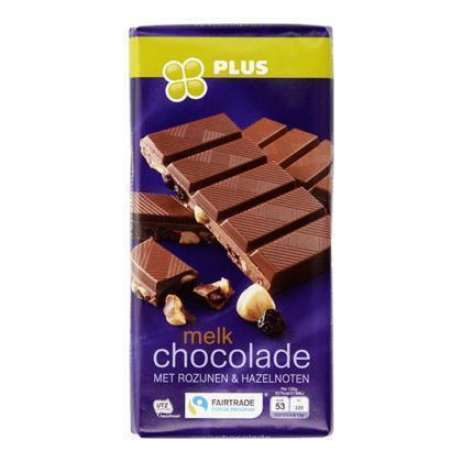 Tablet melk rozijn hazelnoot Fairtrade (tablt, 200g)