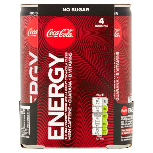 Coca-Cola Energy no sugar 4-pack (1L)