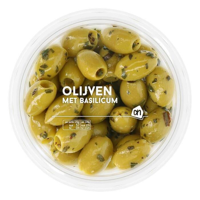 AH Groene olijven met basilicum (165g)