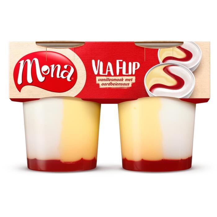 Vlaflip vanillevla/ yoghurt/ aardb.saus (2 × 380g)
