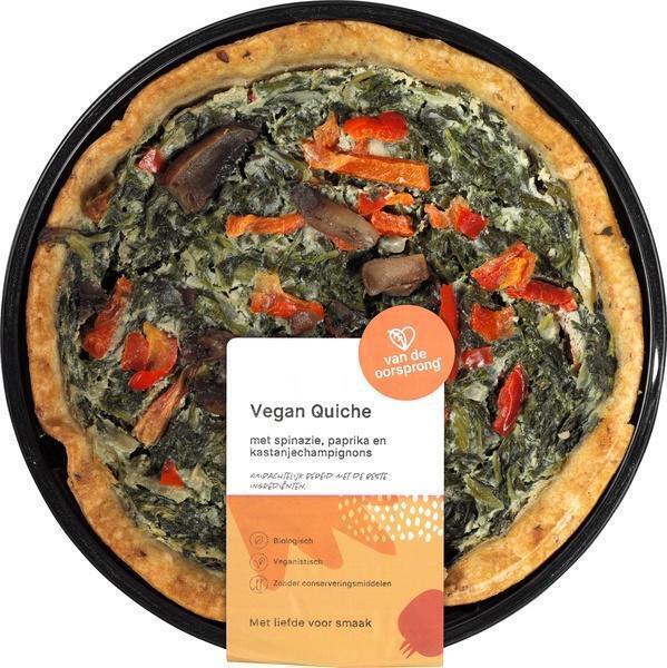 Vegan quiche spinazie, paprika en champignons (350g)