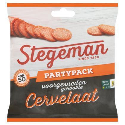 Stegeman Voorgesneden Gerookte Cervelaat Partypack 150g (120g)