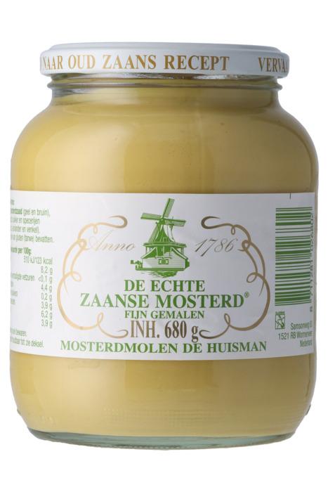 Huisman De echte Zaanse mosterd fijn 680 gr pot (680g)