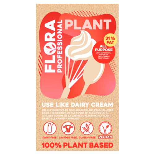 Flora Professional Plant Koken en Opkloppen Plantaardig Alternatief voor Slagroom 31% Vet 1 L (1L)