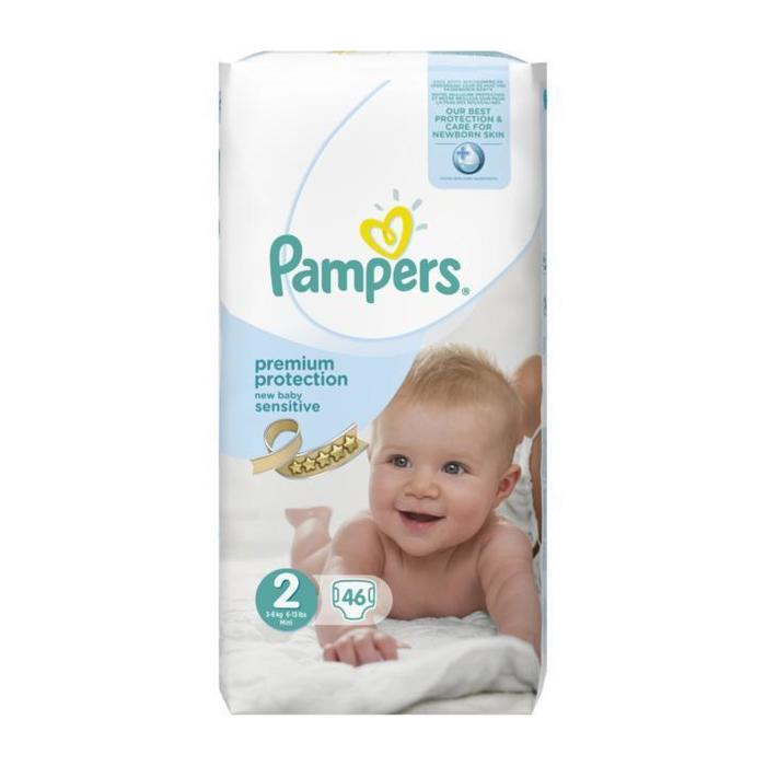 Pampers Premium Protection New Baby Sensitive 2 Mini 3-6 kg 46 Stuks