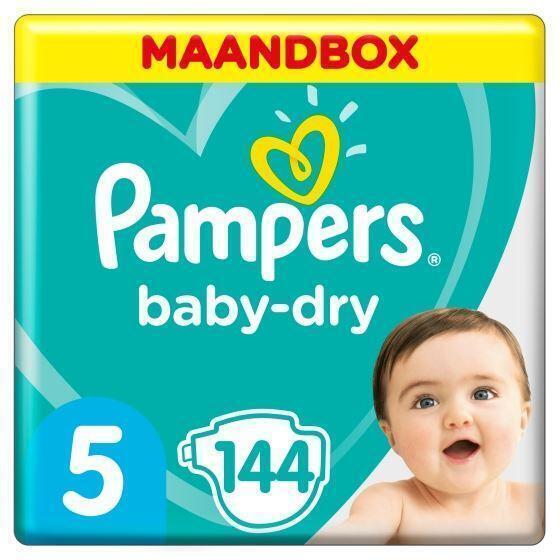 Pampers Baby-Dry Maat 5, 144 Luiers, Voor Droge Ademende Huid, Maandbox