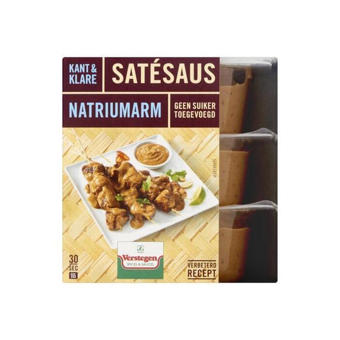Satésaus kant-en-klaar natriumarm zonder suiker (3 × 80ml)