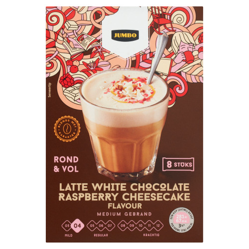 Jumbo Latte White Chocolate Raspberry Cheesecake Flavour 8 Stuks 120 g (120g)