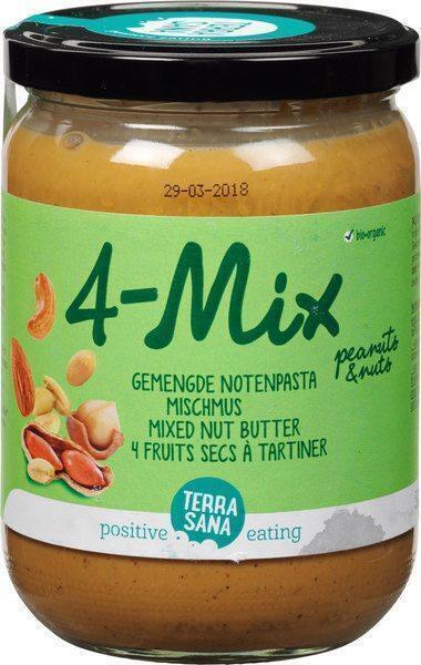 4 Mix, gemengde notenpasta met pinda's TerraSana 500g (500g)