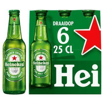 Heineken draaidop flessen (rol, 6 × 250ml)