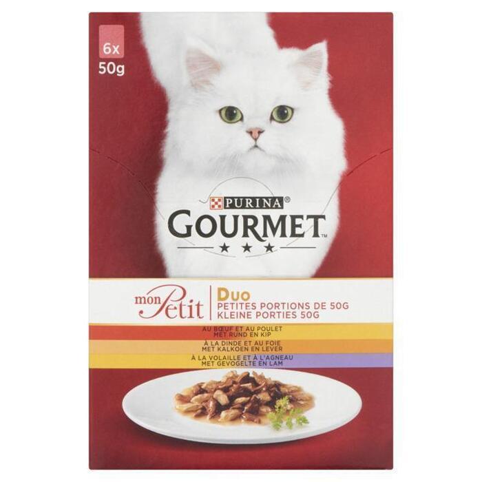 Gourmet mon petit duo vlees kattenvoer (6 × 50g)