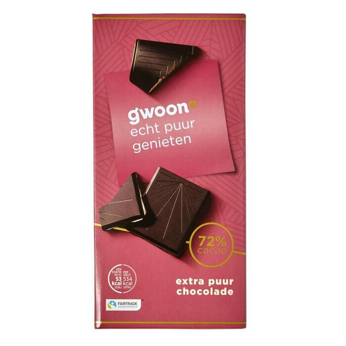 g'woon Chocoladereep puur 72% (100g)