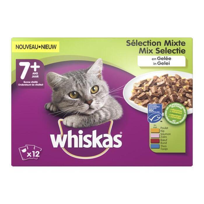 Whiskas Kattenvoer nat mix in gelei 7+ jaar (12 × 1.2kg)