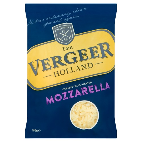 Vergeer Holland Geraspt Mozzarella Kaas 40+ 200 g (Stuk, 200g)